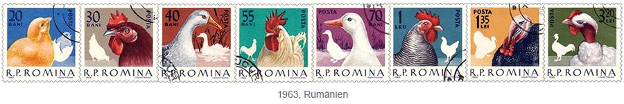 Briefmarkensatz: Nutzgeflügel - 1963, Rumänien