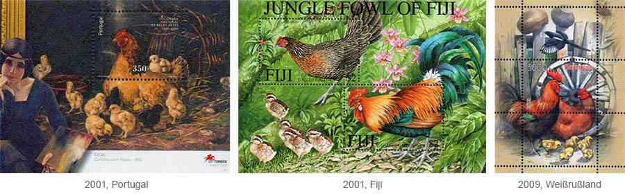 Briefmarkenblocks: Hühner mit Kücken - 2001, Purtugal / 2001, Fiji / 2009 Weißrußland