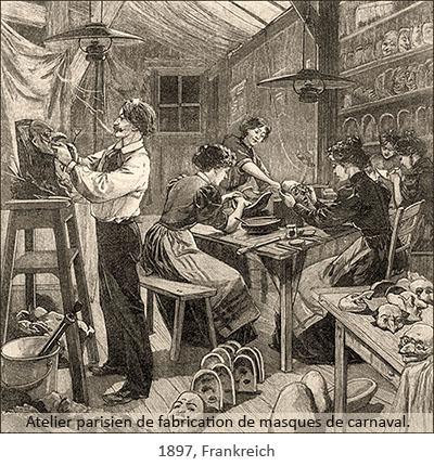 Holzstich: Beschäftigte in Pariser Maskenatelier - 1897