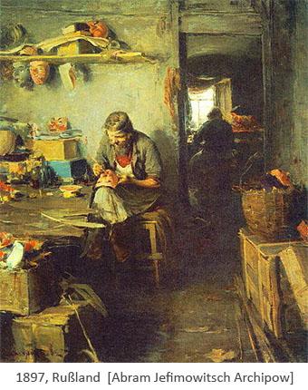 Gemälde: Blick in Maskenmacherwerkstatt - 1897, Rußland