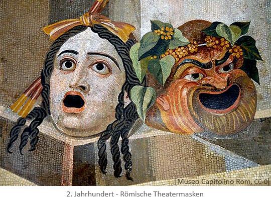 Mosaik: Römische Theatermasken (Tragödie & Komödie) - 2.Jh