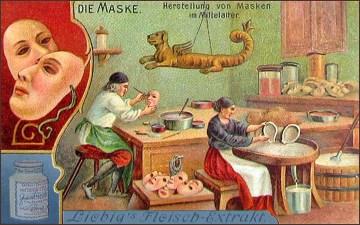 Sammelbild: Herstellung von Masken im Mittelalter