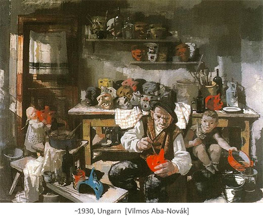Gemälde: Maskenmacher bemalt Masken ~1930. Ungarn