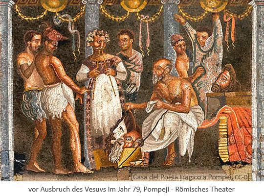 Mosaik: Römische Theaterszene - vor 79, Pompeji