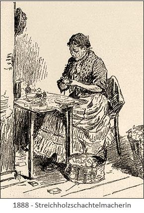 sw-illu: Frau stellt Streichholzschachteln her