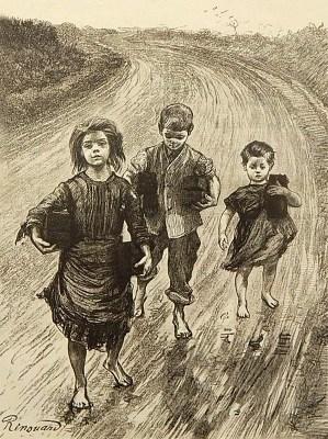Kohlezeichnung: drei ärmliche Kinder mit Torfstücken unter dem Arm