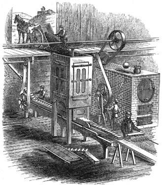 sw-Zeichnung: Torfmaschine zur Verarbeitung von Torf