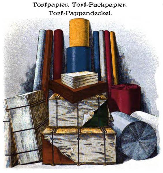 Zeichnung: Torf als Papier genutzt