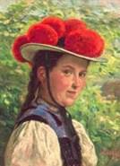 Gemälde: Schwarzwälderin mit Bollenhut ~ 1900