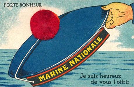 gemalte Postkarte: Matrosennütze + echte rote Bommel ~ 1950, FR