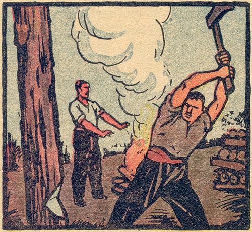 Mann fällt Baum, ein anderer wärmt sich an einem Feuer