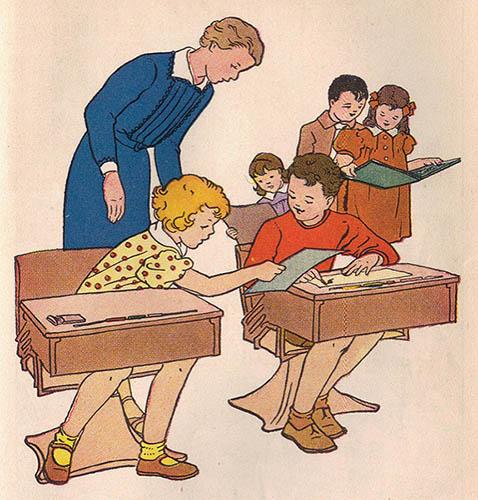 farbige illu: im Klassenzimmer