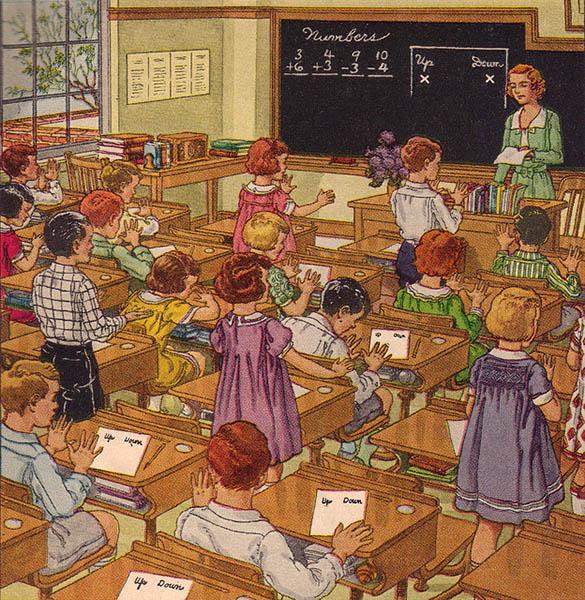 farbige illu: Klassenzimmer