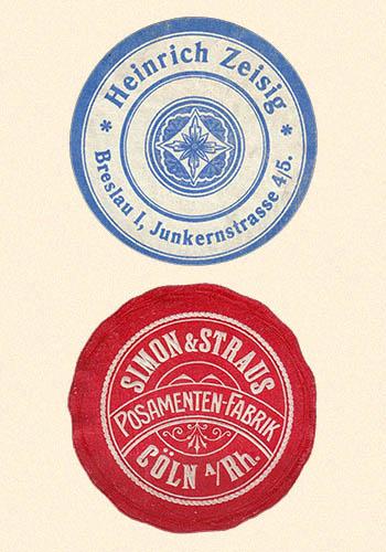 Posamenten-Fabrik-Siegelmarken - vor 1945