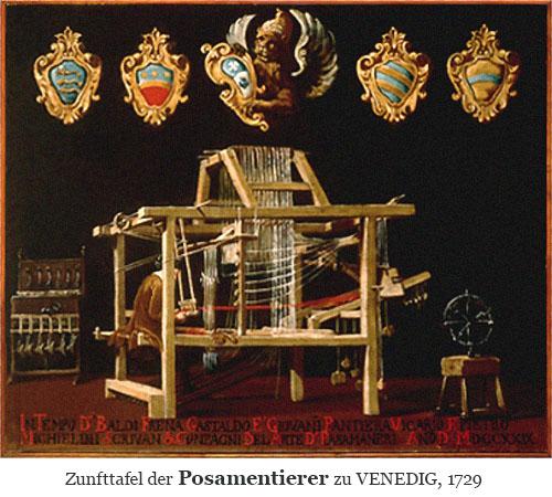 Farblitho: Zunfttafel der Posamentierer zu Venedig - 1729