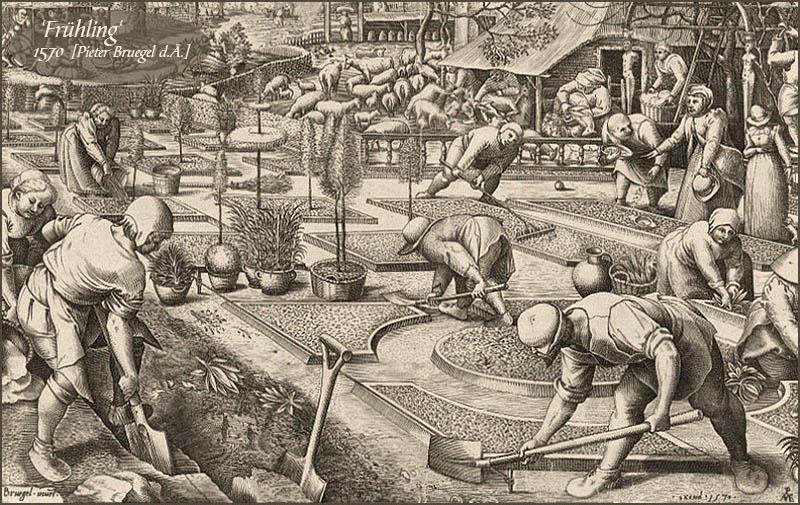 Zeichnung: Männer und Frauen bei Gartenarbeiten