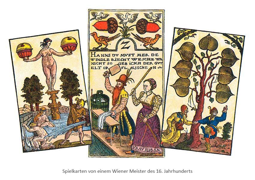kolorierte Holzschnitte: 3 Wiener Spielkarten - 16. Jh