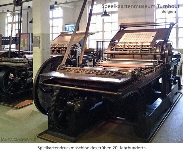 Farbfoto: Spielkartendruckmaschine - frühes 20. Jh, Belgien