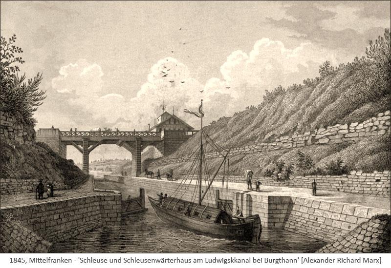 Stahlstich: Schleuse u. Schleusenwärterhaus am Ludwigskanal - 1845, Mittelfranken