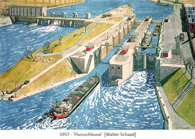 Aquarell: Schulbuchillu einer Flussschleuse - 1957