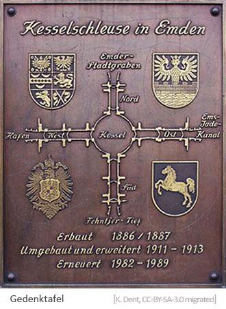 Farbfoto: Gedenktafel d. Emdener Schleuse von 1989 mit schemat. Darstellung