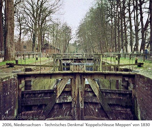Farbfoto: Technisches Denkmal 'Koppelschleuse Meppen' von 1830