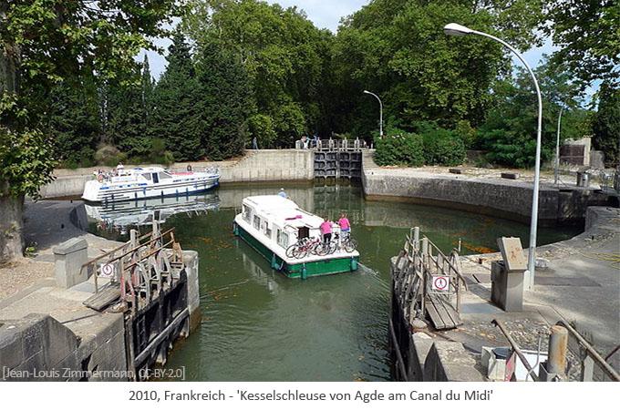 Farbfoto: Kesselschleuse von Agde am Canal du Midi - 2010, FR