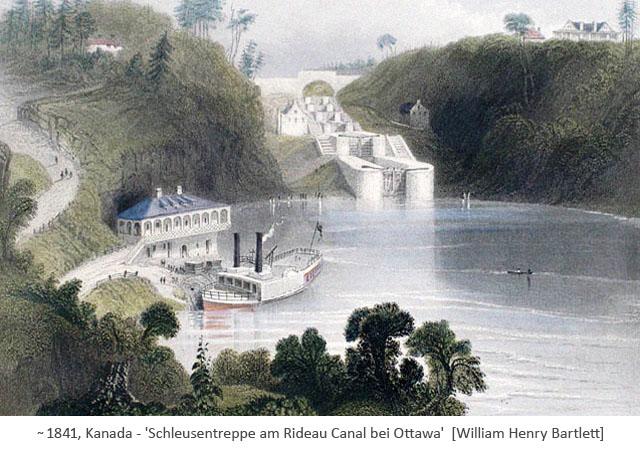 kolor. Stahlstich: Schleusentreppe am Rideau Canal bei Ottawa ~1841, CA