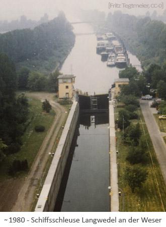 Farbfoto: Luftaufnahme einer Schiffsschleuse an der Weser ~1990