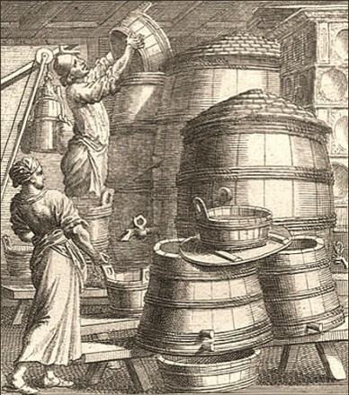 Kupferstich: 2 Männer hantieren an treppenartig aufgestellten Fässern - 1698