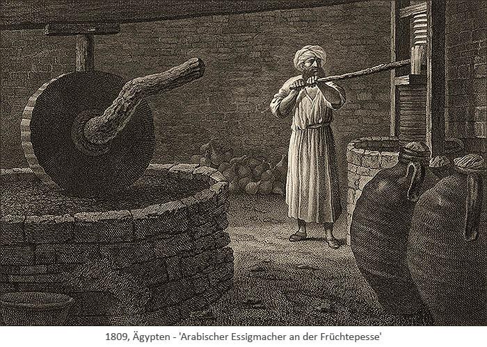 Kupfestich: Arabischer Essigmacher an der Früchtepesse - 1809, EG