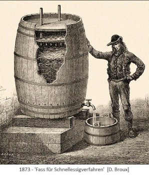 Tuschezeichnung: Fass mit Anschnitt zeigt innere Konstruktion - 1873