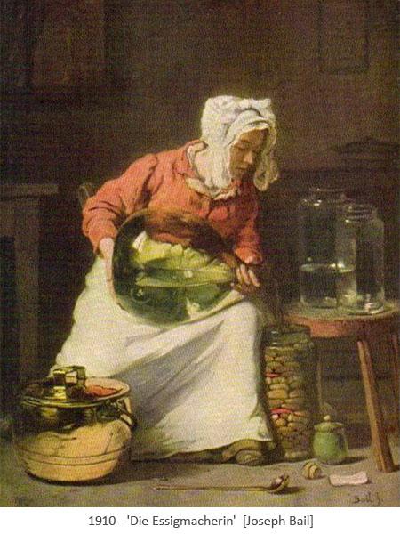 Gemailde: Frau beim Umfüllen von Essig - 1910
