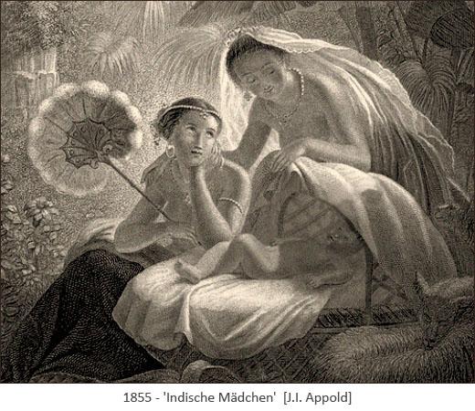 Stahlstich: zwei junge Inderinnen fächeln Baby Luft zu - 1855