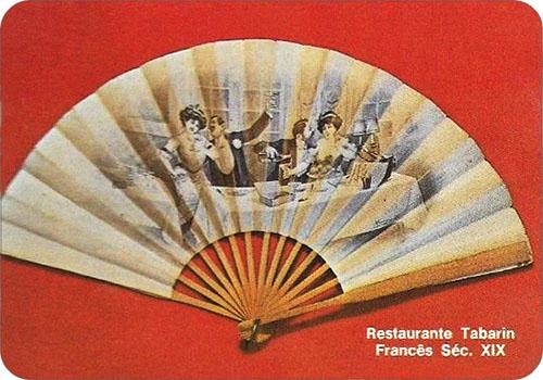spanisches Sammelbild mit franz. Fächer aus dem 19. Jh