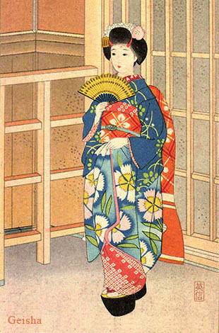 gemalte Künstler-Ak: Geisha mit Fächer - Japan