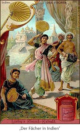 Sammelbild: Inderinnen mit Fächer ~1900