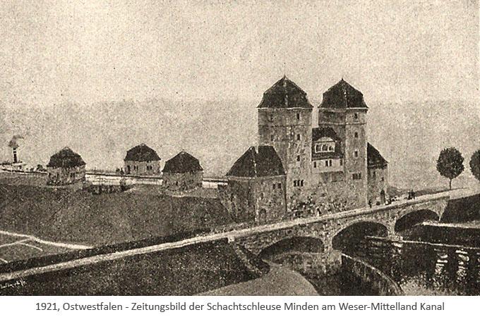 sw Zetungsbild: Schachtschleuse Minden am Weser-Mittelland Kanal - 1921, NRW