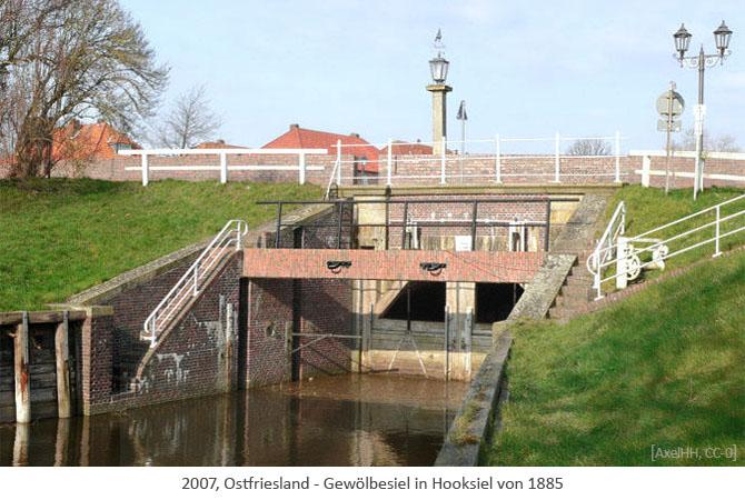 Farbfoto: Gewölbesiel in Hooksiel von 1885 - Ostfriesland