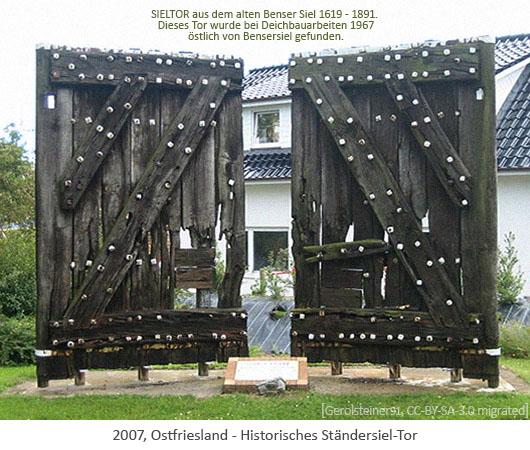 Farbfoto: Hölzernes Ständersiel-Tor vom alten Benser Siel von 1619 - Ostfriesland