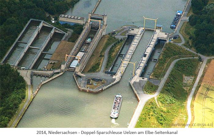Farbfoto: Luftaufnahme d. Doppel-Sparschleuse Uelzen am Elbe-Seitenkanal - 2014, Niedersachsen