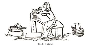 Zeichnung: Das Kämmen der Wolle - 14. Jh, GB
