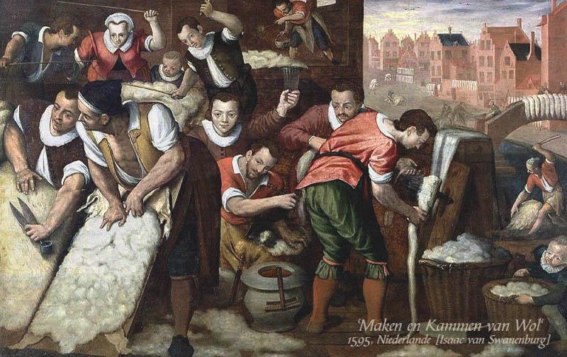 Gemälde: Männer und Frauen, die Wolle behandeln und kämmen - 1595, NL