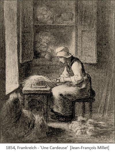 Zeichnung: Frau kämmt sitzend Wolle mit Kamm an Gestell - 1854, FR