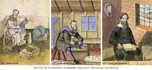 Buchmalerei: 3 Mönche, die im Mittelalter als Wollkämmer tätig waren