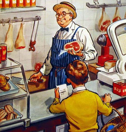 Buchillustration: Junge kauft beim Fleischer ein
