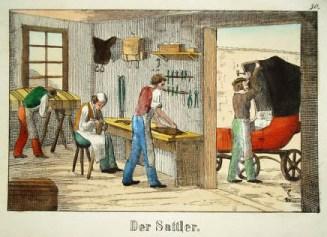 kolorierte Zeichnung: vier Männter stellen Bespannugn für Kutsche her