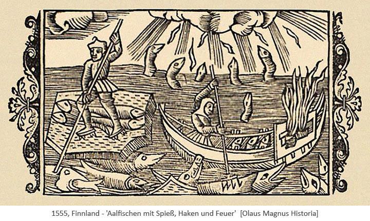 Holzschitt: Aalfischen mit Spieß, Haken und Feuer - 1555, Finnland