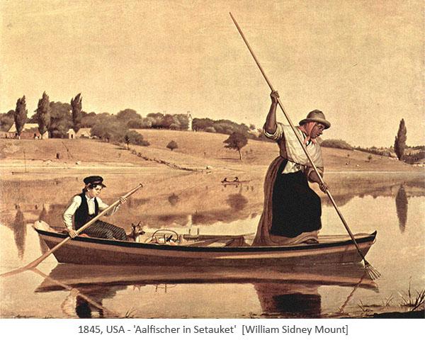 Gemälde: Knaben mit Paddel steuert Kahn, an dessen Bug eine Aalstecherin mit Stechgabel - 1845, USA