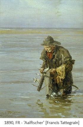 Gemälde: Fischer mit Aalharke in der Bucht von Authie - 1890, FR